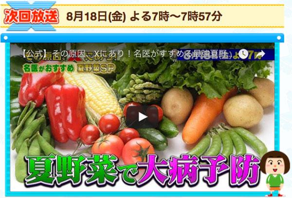 アイキャッチ:8/18、19:00~「その原因、Xにあり!」は夏野菜SP。認知症にナス!?